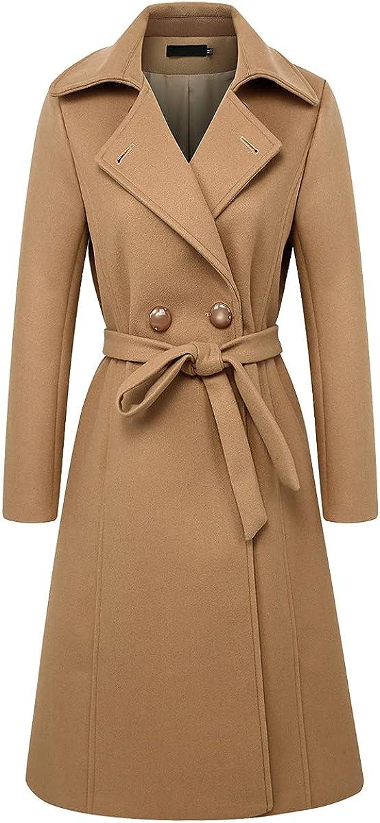 Kinghua Women's Winter Long Wool Coats Elegant Double Breasted Overcoat with Belt