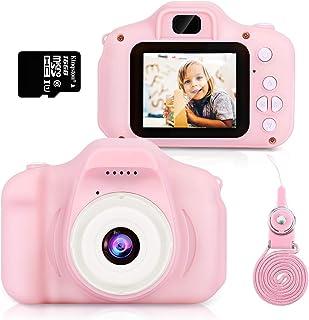 Hommie Cámara para Niños Cámara de Video 1080p HD con Mmoria 16GB Doble Lente Pantalla LCD a ColorCámara para Niña Rosa