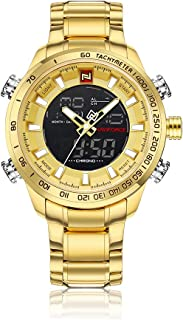 نافي فورس طقم ساعات رجال انالوج بعقارب ستانلس ستيل - J2044G