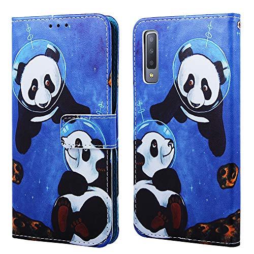 Nadoli Leder Hülle für Galaxy A7 2018,Bunt Sei Panda Malerei Ultra Dünne Magnetverschluss Standfunktion Handyhülle Tasche Brieftasche Etui Schutzhülle für Samsung Galaxy A7 2018