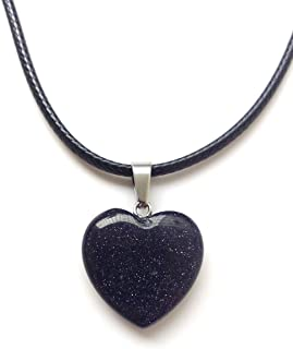 AIMITH Heart Shape Love Pendant Onyx Crystal Gemstone Rock Stone Chakra Necklace Jewelry