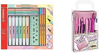 Surligneur - Coffret Mixte 13 pièces & BIC Party Set - 1 Trousse, 2 Stylos-Bille/1 Stylo Gel Effaçable/1 Crayon à Papier a...