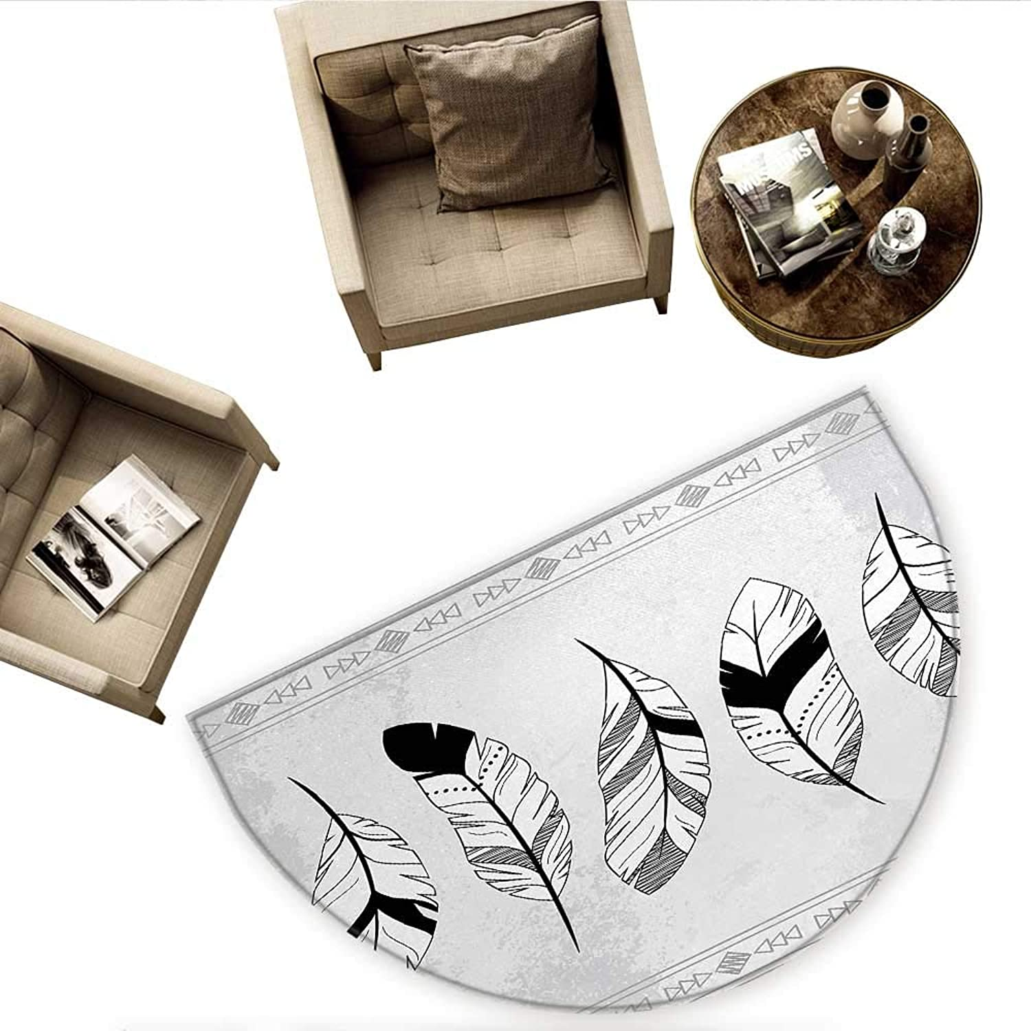 Feather Semicircle Doormat Stylized Doodle Borders with Triangle Motifs Artistic Bohemian Western Halfmoon doormats H 59  xD 88.6  Black White Pale Grey