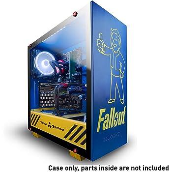 iBUYPOWER スペシャルエディション フォールアウト ATX ミッドタワー PC ゲームケース - 強化ガラスパネル - ケースのみ - Nuka Cola リキッドクーラー & ボールト ボーイ ボブルヘッド付き - ブルー/イエロー