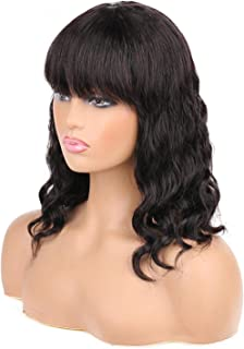 BK Beckoning Body Wave Wigs with Bangs Human Hair Brazilian Short Wavy Curly Bob Wigs with Bangs None Lace Front Wigs Glue...