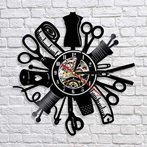 Pmhhc 1Piece Apparel Sewing Insturment Art Clock Sewing Machine 3D Wall Clock Handmade Room Art Decor Best Gift Idea for Friends