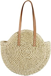 Women's Straw Handbags Large Summer Beach Tote Woven Round Handle Shoulder Bag Mesh Beach Bag for Women