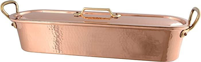 Mauviel 032051 Copper Fish Poacher and Grid with Lid, Hammered Finish, 19-5/8-Inch