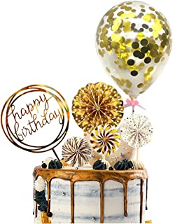 Gold Cake Topper Happy Birthday Cake Topper Confetti Balloon Cake Topper Fan Cupcake Toppers Birthday Cake Decoration Supplies (6 Pieces) …