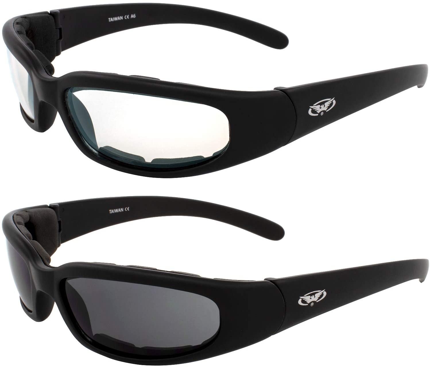 2 Pairs of Global Vision Chicago Padded Motorcycle Riding Sunglasses Black Frames Clear + Smoke Lenses