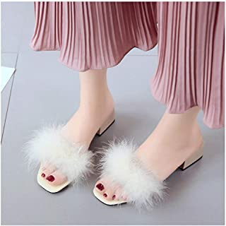 Tinpia Womens Slippers Fur Furry Slide Sweet Feather Square Heel Bottom Beach Female Sandals Hair Flip Flops Women Home Slippers Outside Soft Shoes