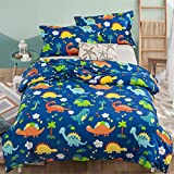 3 Pieces Dinosaur Kids Duvet Cover with 2 Pillowcases,Animal Print Bedding Set with Zipper Closure,Blue Reversible Boys Children Quilt Cover Double Size 200×200cm (No Comforter)