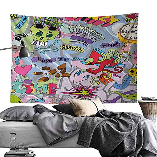 N / A Tapestry Hip-Hop Inspired Colorful Doodle Crazy Love Time Cool Skull Street Art Print Wall Hanging Beach Towel Table Cloth Yoga Mat Home Decoration gift 130×150cm(51×59inch)