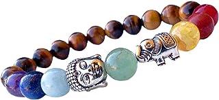 Spiritual Unisex Men, Women Tiger's Eye Lucky Elephant 7 Chakra Healing Bracelet