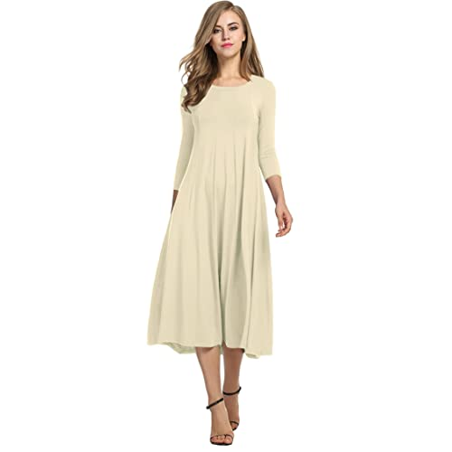 Hotouch Women s 3 4 Sleeve A-line and Flare Midi Long Dress ce2245ea3