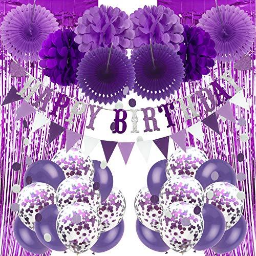 Recosis Geburtstags Dekorationen, Lila Party Dekorationen für Mädchen Frauen Alles Gute zum Geburtstag Banner, Vorhänge Papier Pompons und Fans Girlande Luftballons für Geburtstagsfeier Dekorationen