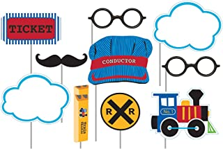 Creative Converting 324348 Assorted Photo Booth All Aboard Party Props (10 Piece), Multisizes, Multicolor