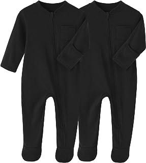 BINIDUCKLING Conjunto de 2 pijamas unisex con patas acogedoras para recién nacidos, de algodón, de colores sólidos, de 0 a...