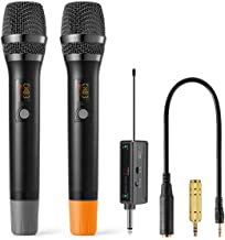 UHF Wireless Microphone System, Frunsi 100 Channel Portable Cordless Microphone with Rechargeable Receiver 6.35mm(1/4'') a...
