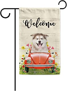 BAGEYOU Welcome Spring Dog Garden Flag Lovely Alaskan Malamute Puppy Driving a Vintage Car Summer Flowers and Lawn Decor H...