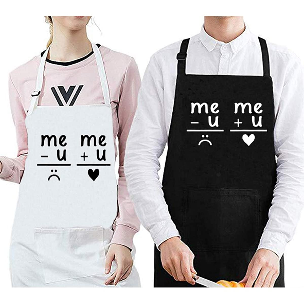 CLOCOR Couple Apron Set, Wedding Engagement Gift for Couples, 100% Cotton, Adjustable Neck Strap