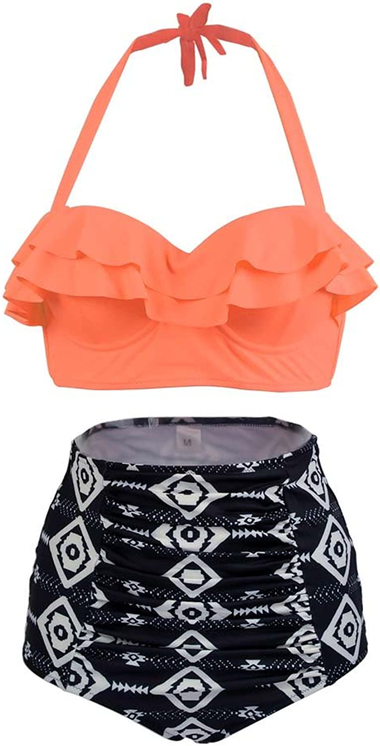 AFPANQZ  High Waisted Bikini Set, Vintage Falbala Two Piece Swimsuits for Women Halter Cute Bathing Suit orange Size 8