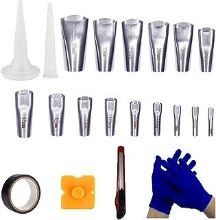 Ling-Ming 15Pcs Caulk Nozzle Applicator Stainless Steel Sealant Nozzle Caulking Finisher Nozzle Sealant Caulking Tool Kit ...
