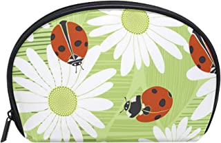 MASSIKOA Chamomiles And Ladybirds Cosmetic Bag Travel Handy Organizer Pouch Makeup Bags Purse for Women Girls