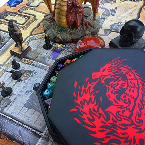 7 Dice Set// Standard Holds 5 Sets for All Tabletop RPGs Fantasydice RED Fire Dragon with Wizard Book Print Dice Tray 8 Octagon with Lid and Dice Staging Area