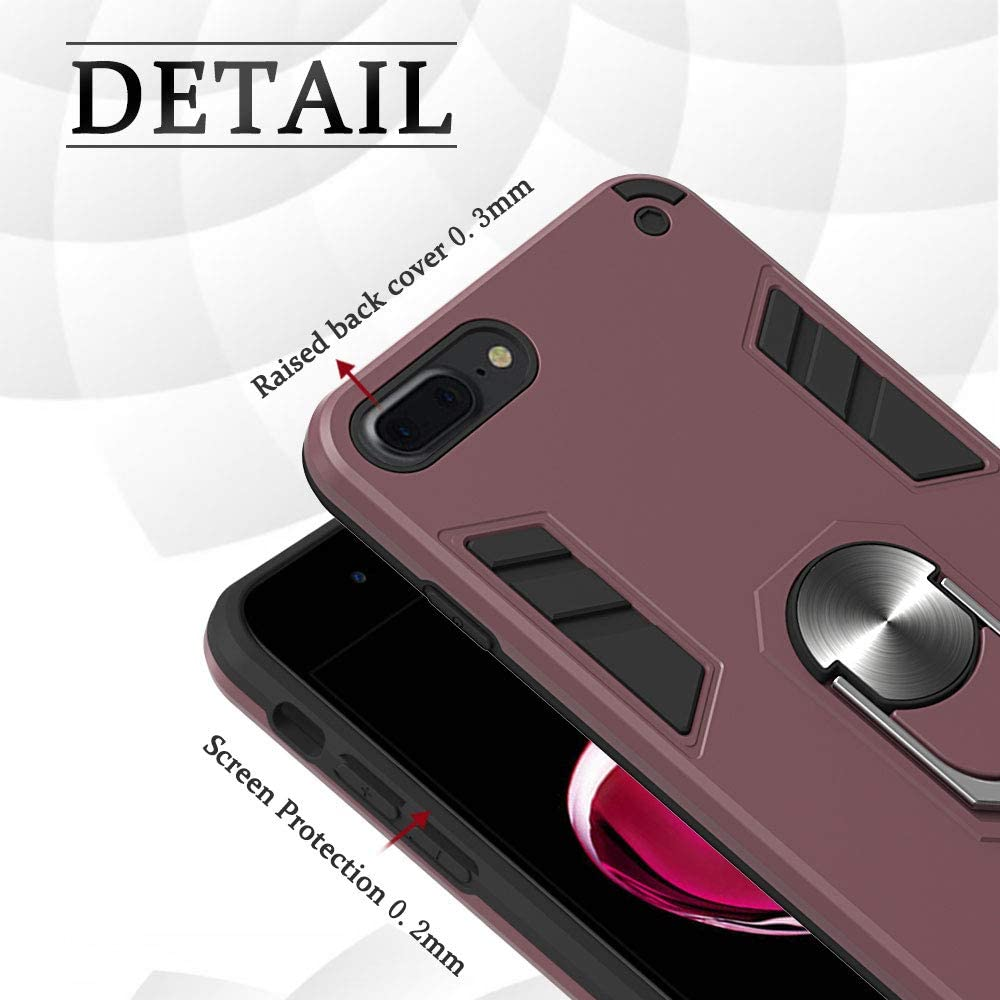 Case iPhone 7 Cover Military Grade Phone Case with 360 Degree Rotating Holder Kickstand Support Magnetic Car Mount Rose Gold iPhone 8 Case 2020 Wiitop Compatible with iPhone SE