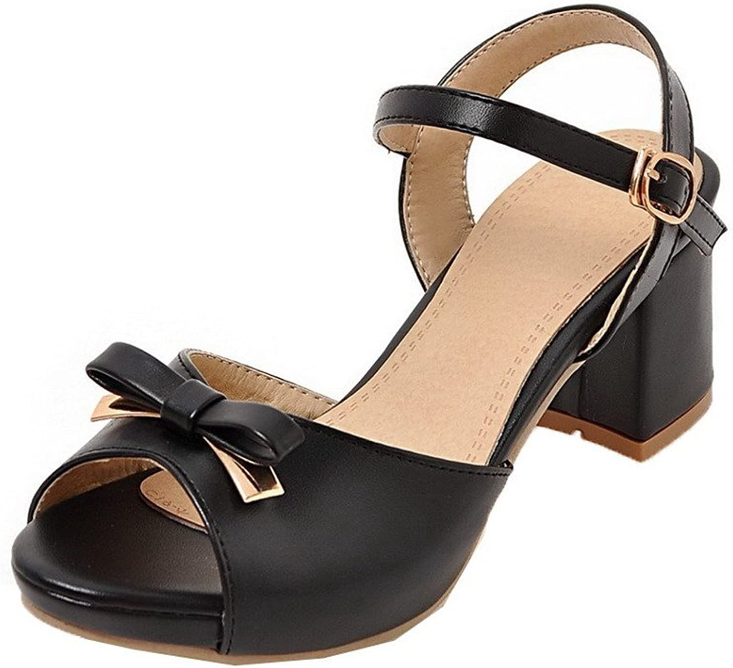 WeiPoot Women's Buckle Pu Open-Toe Kitten-Heels Solid Sandals
