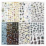 FLOFIA Pegatinas Uñas Adhesivas Decorativas Calcomanías de Moda Palmera Hojas de Arce Flores Negro Etiqueta Engomada Tatuaje Mujer Uñas DIY Nail Art Stickers, Multicolor 12 Estilos