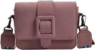 Retro Frosted matte fashion Crossbody bag Wide shoulder strap One shoulder Small square bag Pink