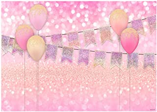 Funnytree 7x5FT Pink Balloons Party Photography Backdrop for Girl Birthday Party Banner Bridal Shower Glitter Bokeh Background Photo Booth