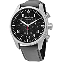 Alpina Startimer Pilot Black Dial Grey Leather Men's Watch