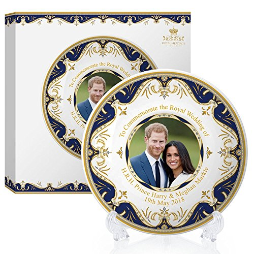 Royal Heritage H.R.H Harry and Meghan Markle Wedding Commemorative Plate, Fine China, Multi-Colour, 20 x 20 x 2 cm