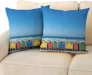 Travel,Bedding Pillowcases Colorful Bathhouses at Muizenberg Cape Town South Africa Standing in a Row Touristic 18