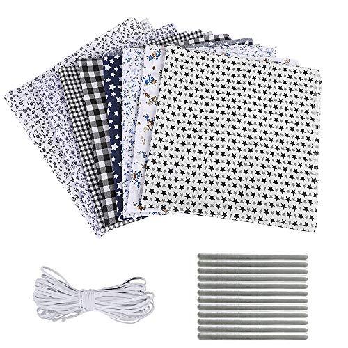 papasgix 8 Stück Set Baumwollstoff Meterware Stoffe zum Nähen Patchwork Stoffpaket Baumwolle DIY Baumwolltuch je 50 cm x 50 cm(Schwarz 8PC)