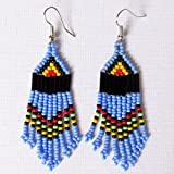 African Zulu beaded earrings - Chandelier NEW DESIGN - Blue and multicolour - Gift for her