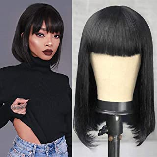 Short Bob Wig With Bangs Brazilian Remy Human Hair Wig With Bangs 150% Density Non Lace Wig For Women (12inch, non lace hu...