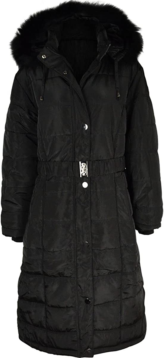 Fashion Thirsty Womens Long Winter Coat Padded Quilted Puffa Jacket Fur Hooded Plus Size (US 26 - EU 58, Black/Faux Fur)