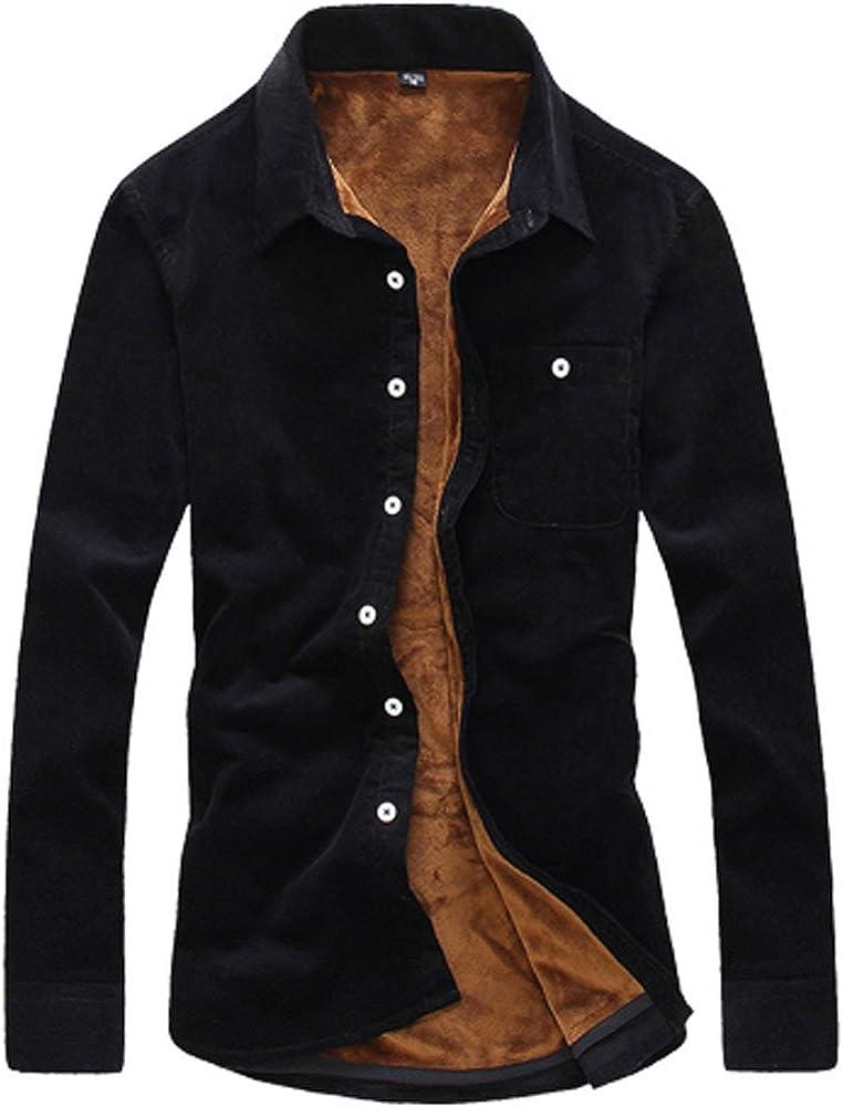 QZUnique Men's Plus Basic Thickening Fleece Lined Thermal Button-Down Shirt