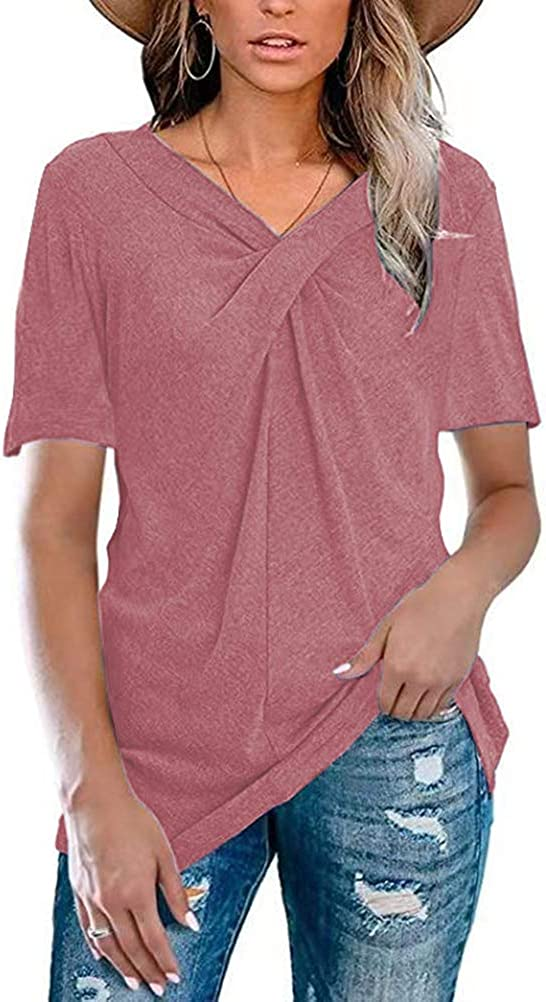 Chvity Womens Summer Short Sleeve Blouse Casual V Neck Cross Knot Loose Tunic Tops T Shirts