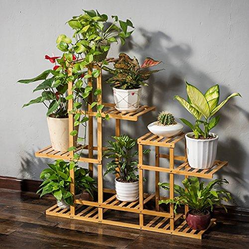 Étagère à fleurs balcon support de fleurs bois massif multi-couche multi-carré salon chaise à fleurs étagère à fleurs en bambou simple