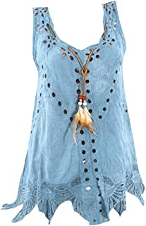 Leyben Women's T-Shirt, Women Plus Size Tank U Neck Feather Embroidery Hollow Out Lace Sleeveless Summer Tops