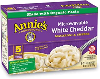 Annie's Macaroni and Cheese, Microwavable Pasta & White Cheddar Mac and Cheese, 10.7 Oz, Pack of 6