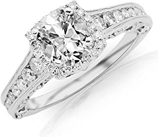 1.69 CTW GIA Certified 14K White Gold Vintage Halo Style Channel Set Round Brilliant Diamond Engagement Ring (0.94 Ct Milgrain F Color VS2 Clarity Cushion Cut Center)
