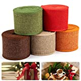 5 Pack Burlap Ribbon Rolls- 27 Yards 2.4'' Wide Natural Burlap Weave Ribbon in 5 Colors DIY Handmade Trims Crafting Supplies for Holiday Decorative Wreath Rustic Gift Wrapping Floral Bows Party Favors