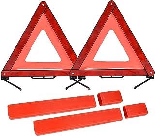 Partsam 2pcs Red Triangle Reflectors Maypole triangle warning reflectors for trailer truck boards caravan gate ect.
