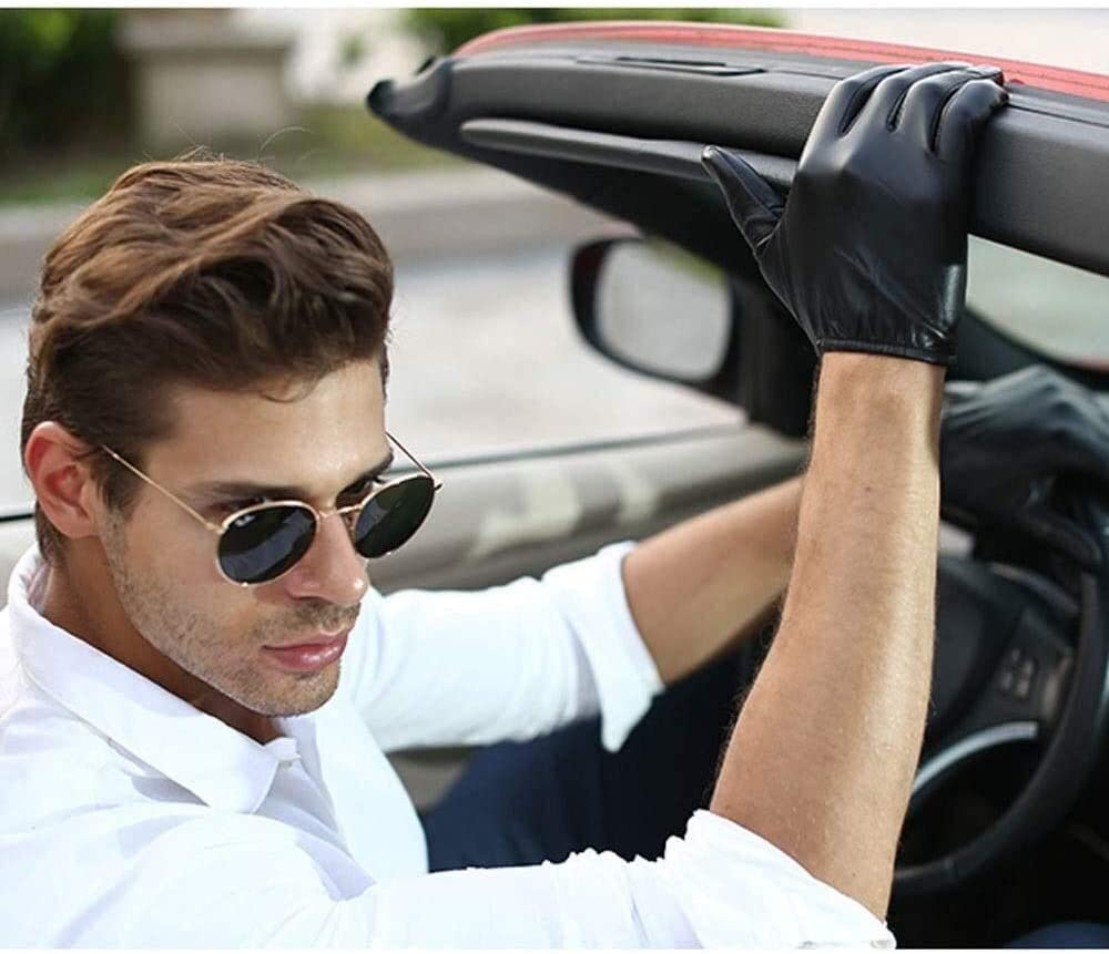 Men'S Leather Gloves Thin Section Sheepskin Short Leather Gloves Winter Touch Screen Warm Driving Glove For Man Touch Screen Mittens Gloves Mittens ( Color : Black(thin Section) , Size : Large )